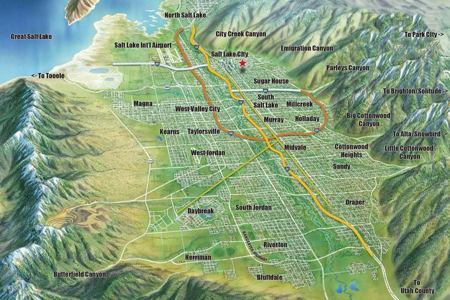 Image result for map of cities in salt lake valley